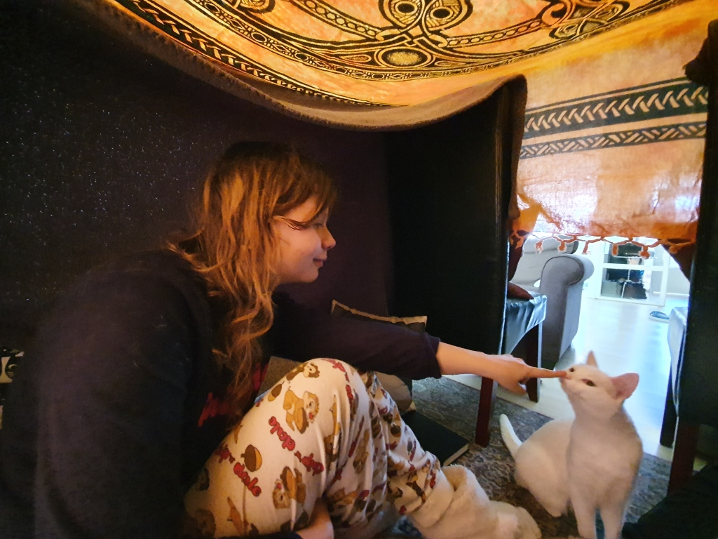 girl with cat in pillowfort