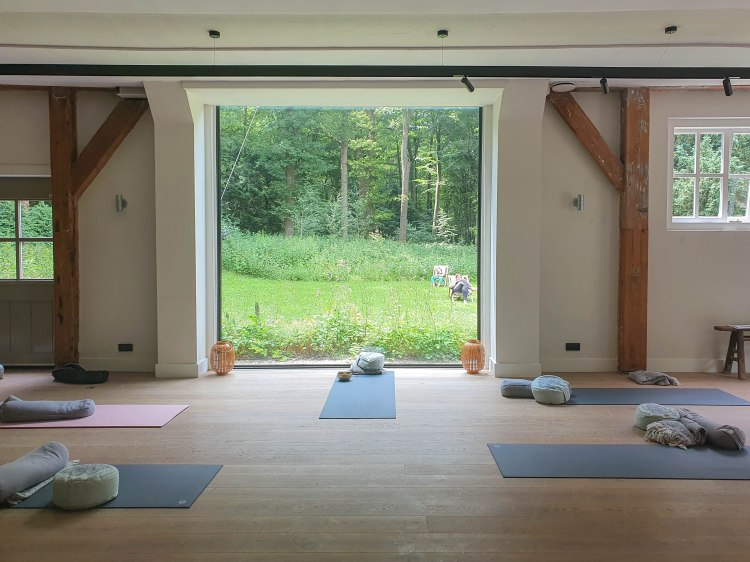 happy soul travel yoga studio with a view of the forest