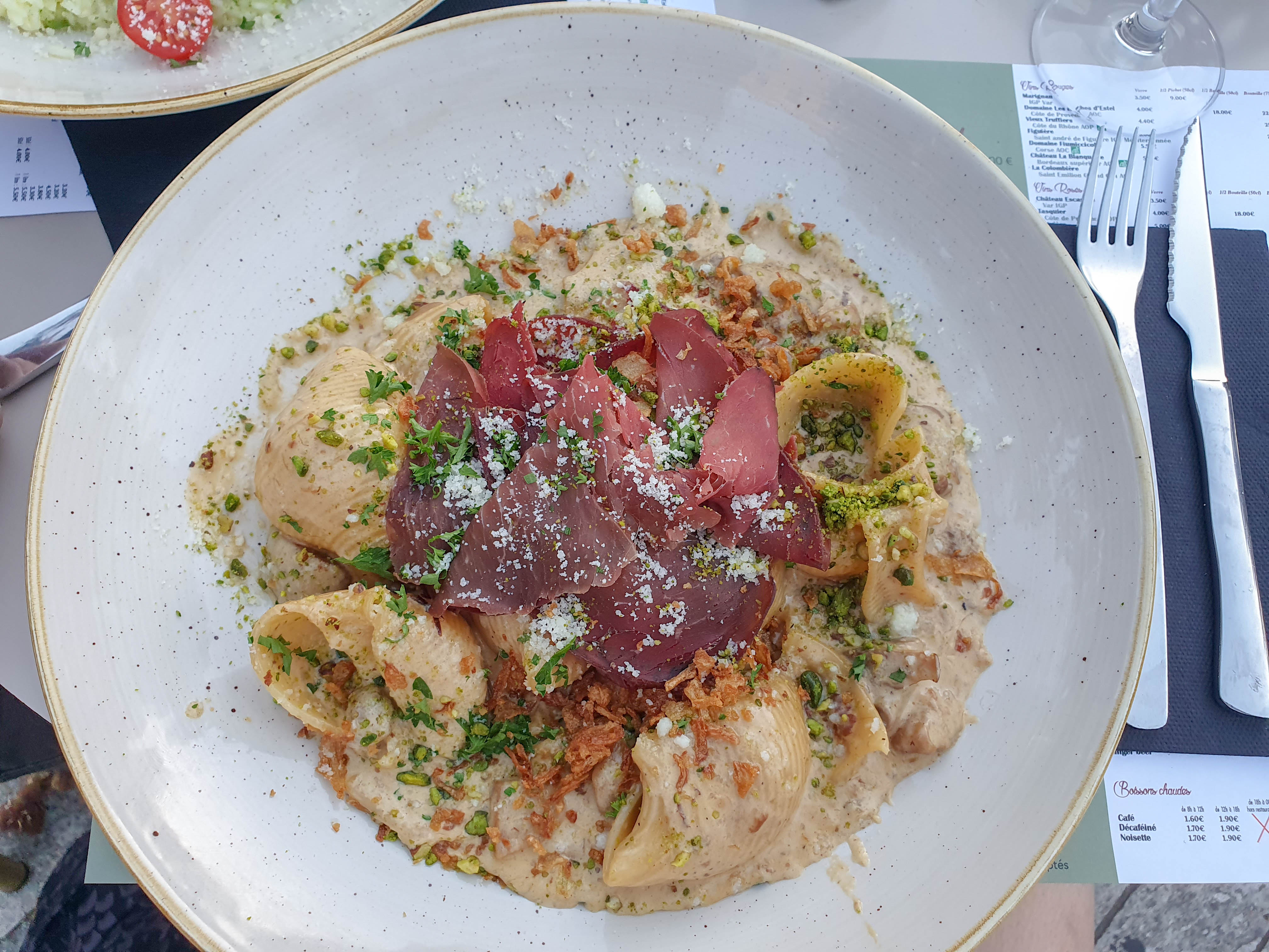 Plate of pasta at Cafe de la Place Garibaldi in Nice, France